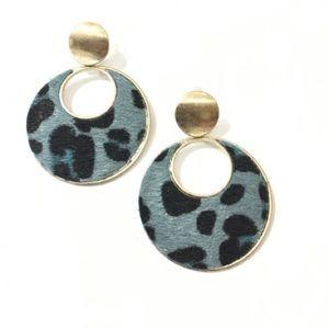 Medium Blue Leopard with Gold Drop Earrings